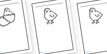 Chick Writing Frames - writing frame, frame, writing, writing aid, chick, easter, easter chicks, chick writing frames, easter chick writing frames, easter writing frames, easter colouring writing frames, writing template, template, literacy, reading