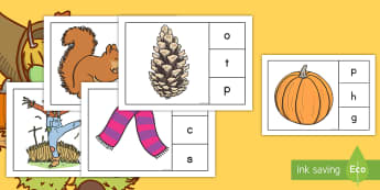 Initial Sounds Fall-Themed Peg Matching Game - sounds, phonics, fall, game, season