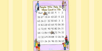 People Who Help Us Counting In 10s Maze - counting aid, maths