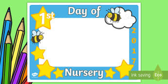 First Day of Nursery Photo Booth Frame Cut-Outs -  photo booth, props, camera, photos, photobooth, bee, cutouts, nursery, display, celebration