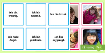 Feelings and Emotions Matching Cards - German  - Emotions, Feelings, German, MFL, Languages