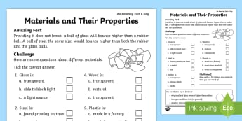 Materials and Their Properties Activity Sheet - Amazing Fact Of The Day, activity sheets, powerpoint, starter, morning activity, March, glass, plast