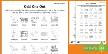 Who's at the Zoo? Circle the Odd One Out Activity Sheet -  Who's, at, the , zoo, exploring, my, world, aistear, story, animals, tiger, elephant, monkey, pen