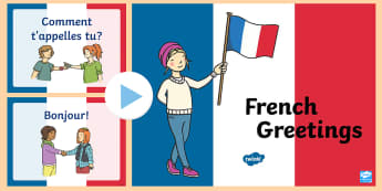 French Greetings  PowerPoint - French Greetings A5 Flashcards - french, greetings, a5, flashcards, flashards, flascards