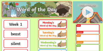 Year 2 Autumn 1 Word of the Day Display Pack - word of the day, word cards, ambitious vocabulary, word wall,
