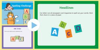 Spelling Challenge PowerPoint - spelling, spell, challenge, powerpoint, presentation, write, writing