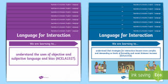 Language Content Descriptions: Language for Interaction Display Posters - Australian Curriculum English Content Descriptions Display Posters, Content Descriptors, Language fo