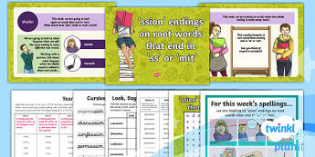 PlanIt Y4 Term 1B W2: -ssion Endings  (Root words end in 'ss' or 'mit') Spelling Pack