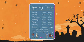 Halloween Fancy Dress Shop Role Play Opening Times - american, us, usa, trick or treat, role play, shopping, maths, adding, money, counting, dressing up, costumes, display, kindergarten, ks1, early years