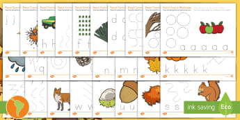 Fall and Harvest Themed Pencil Control Sheets A Z South American Spanish Translation - US English/Spanish (Latin) - Inglés E.E.U.U - Fall and Harvest Themed Pencil Control Sheets A-Z - autumn, harvest, pencil control,autmn,atumn,atum