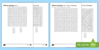 Twinkl Tricky Spelling List 4 - Spellings, Misspellings, Accuracy, SPaG, English Language, Word search