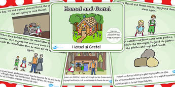 Hansel and Gretel Story Sequencing A4 EAL Romanian Translation