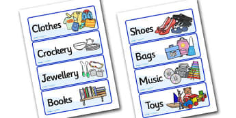 Charity Shops Role Play Labels - charity shop, charity shop labels, charity shop role play, charity shop item labels, charity shop areas, role play, shops