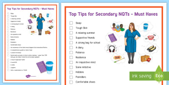Top Tips for Secondary NQTs - KS3/4 Pastoral Support Material, nqt, tips, help, guide