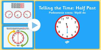 Telling the Time Half Past English/Polish - Telling the Time Half Past - telling, time, half past, half, past, clock, telling yhe time, Timw, Po