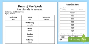 Days of the Week Yesterday and Tomorrow Activity Sheet English/Spanish - worksheet, days of the week, yesterday, tomorrow, worksheets, days of the week worksheet, work sheet