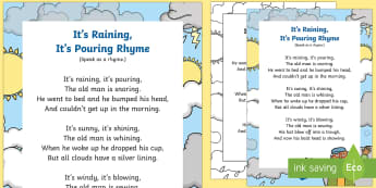 It's Raining, It's Pouring Rhyme - EYFS Weather, sun, rain, thunder, lightening, snow, wind, rainbow, stormy, singing, song time, nurse