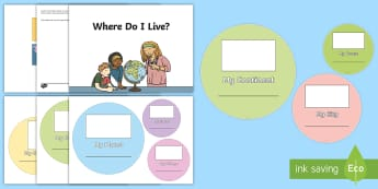 Where Do I Live? Activity Craft - KS1, Geography, Humanities, Cut and Stick, Layer, Map, Street, House, City, Village, Town, County, C