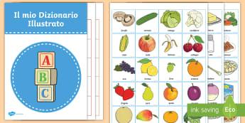 Il mio dizionario illustrato della frutta e la verdura Attività  - vocabolario, dizionario, incolla, ritaglia, nomi, frutta, verdura, italiano, italian, materiale, sco