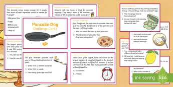 Year 5 Pancake Day Maths Challenge Cards - Y5, Year 5, UKS2, maths, challenge cards, pancake day, events ,festivals,