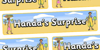 Handa's Surprise Display Banner  (Simple) - Handa's Surprise, Eileen Browne, resources, Handa, Akeyo, mango, guava, Africa, avacado, passion fruit, monkey, African animals, story, story book, story book resources, story sequencing, story resources, d
