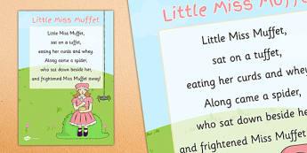 Little Miss Muffet Nursery Rhyme Poster - little miss muffet, nursery rhyme, poster, display