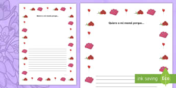 Mother's Day Full Page Borders - Spanish  - Spanish, KS2, vocabulary, mother's, day, love, you, because, full, page, borders, writing, activity