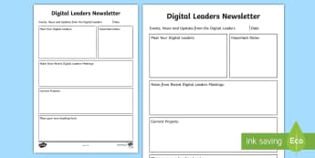 Digital Leaders Newsletter Writing Template - ICT, Technology, computers, ipads, computing,