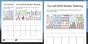Superhero Themed Cut and Stick Number Ordering Sheets 1-20 - superhero, themed, cut, stick, number, ordering
