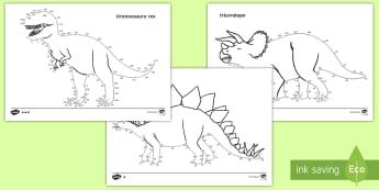 Collega i puntini di 2 in 2 con i dinosauri Attività - dinosauri, dinosauro, puntini, unisci, colorare, numeri, due, in , due, tabellina, matematica, itali