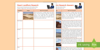Desert Landform Research Activity Sheet  - nature, landscape, environment, ks3, physical, geography