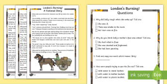 KS1 London's Burning! Fiction Differentiated Reading Comprehension Activity - history, fiction, story, questions and answers, the great fire of London