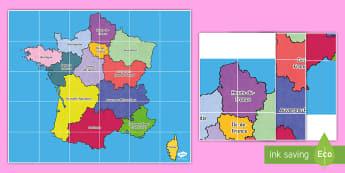 Tapis d'activités Beebot : Les régions de France - Cartes géographiques, map,cycle 2, cycle 3,  KS2, regions, régions, France, tapis d'activités,