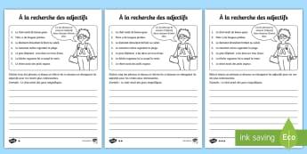 Trouver les adjectifs Feuille d'activités - Grammaire, étude de langue, language, cycle 2, cycle 3, français, adjectif, adjective, adjectifs,F