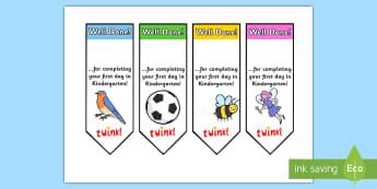 Editable First Day Bookmarks Kindergarten -  bookmark, reward, award, first day, school