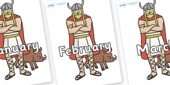 Months of the Year on Vikings - Months of the Year, Months poster, Months display, display, poster, frieze, Months, month, January, February, March, April, May, June, July, August, September