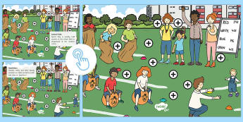 KS1 Sports Day Picture Hotspots - Interactive, athletic, P.E., Field, summer, Facts, Information, Non-fiction,