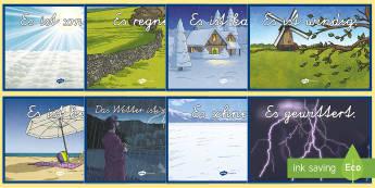 Wetter Poster DIN A4 - Wetter, Deutsch, Jahreszeiten, DAF, DAZ, 1. Klasse,German