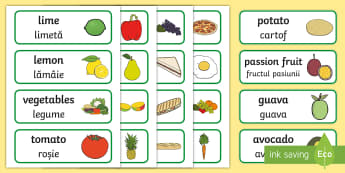 Food Topic Word Cards English/Romanian - Food Topic Word Cards - food, word cards, cards, snack, eating, healthy, lunch, bread, banana, fruit