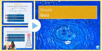 Waves Quick Quiz - amplitude, longitudinal waves, crest, wavelength, frequency, transverse, Hz,