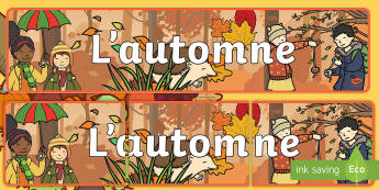 Banderole d'affichage : L'automne - Saisons, feuilles, décoration, marcher, enfants