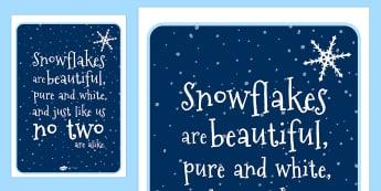 Snowflake Poem Display Poster - snowflake, snow, winter, seasons, winter poems, poem, display poster, poster, poster for display, winter display, display