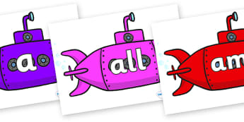 Foundation Stage 2 Keywords on Submarines - FS2, CLL, keywords, Communication language and literacy,  Display, Key words, high frequency words, foundation stage literacy, DfES Letters and Sounds, Letters and Sounds, spelling