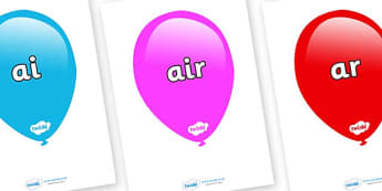 Phase 3 Phonemes on Balloons (Multicolour) - Phonemes, phoneme, Phase 3, Phase three, Foundation, Literacy, Letters and Sounds, DfES, display