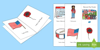 Memorial Day Parade Emergent Reader - flag, veterans, parade, poppy, USA, America