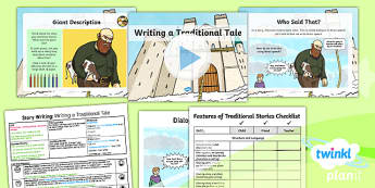 Plants: Jack and the Beanstalk: Story Writing 3 Y1 Lesson Pack - Traditional stories, life processes, living things, explanation texts, seed