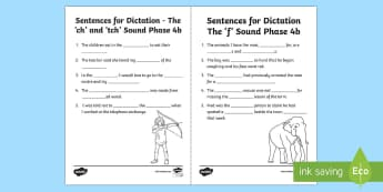 Northern Ireland Linguistic Phonics Stage 5 and 6, Phase 4b 'ch/tch' and 'f' Dictation Sentences Activity Sheets  - NI, missing word, cloze, Worksheets,, words, 'ch', 'f', sounds, phonics