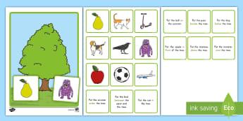 Prepositional Tree Game - Prepositions, Education Game, Center Activity, ELA, Kindergarten, Common Core