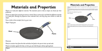 Materials and Properties Activity Sheet - materials, properties, activity, sheet, hard, flexible, soft, worksheet