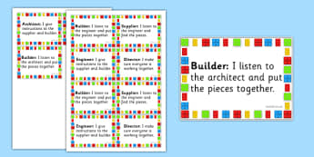 Building Block Therapy Job Badges - building bricks, therapy